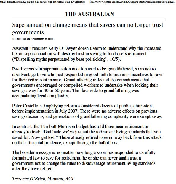 Letters To The Editor - The Australian - Superannuation Change